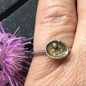 Sterling silver artisan boho ring, size 5